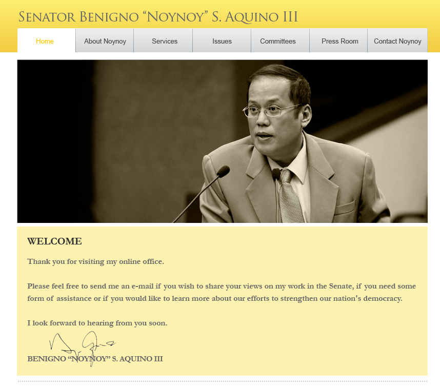 Noynoy's website