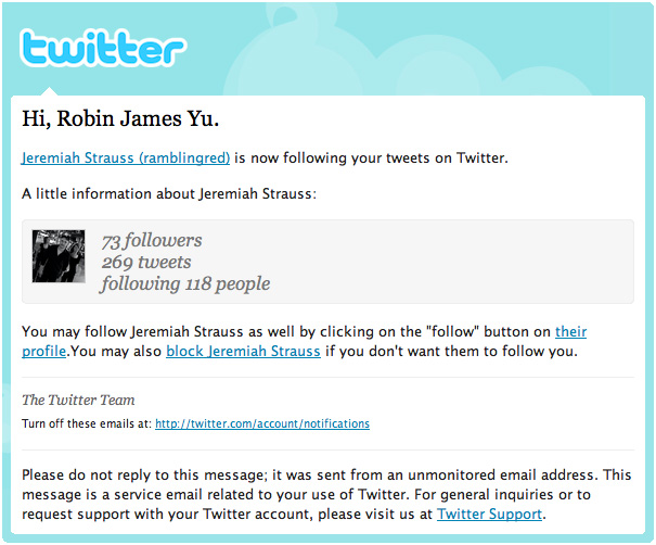 A typical Twitter HTML powered e-mail